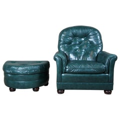 Bradington Young Tufted Green Leather Reclining Rockwell Chair and Ottoman