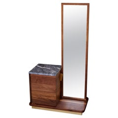 """Bradley"" Cabinet / Mirror Pedestal, Walnut, Brass Mirror Glass Dry Bar Cabinet"