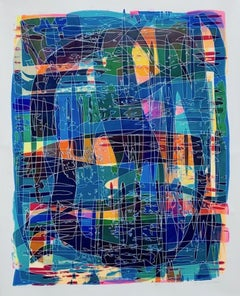 Azurite, Contemporary, Abstract, Colourful, Acrylic on Paper