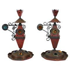 Bradley & Hubbard Aesthetic Movement Jeweled Candleholders in Copper & Iron