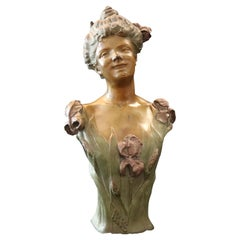 Bradley & Hubbard Art Nouveau Bronzed Polychromed Woman Bust Sculpture