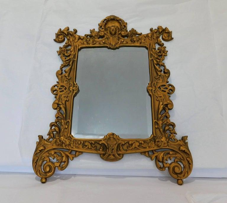 Rococo Bradley Hubbard B&H 19th Century Gilt Bronze Antique Table Vanity Figural Mirror For Sale