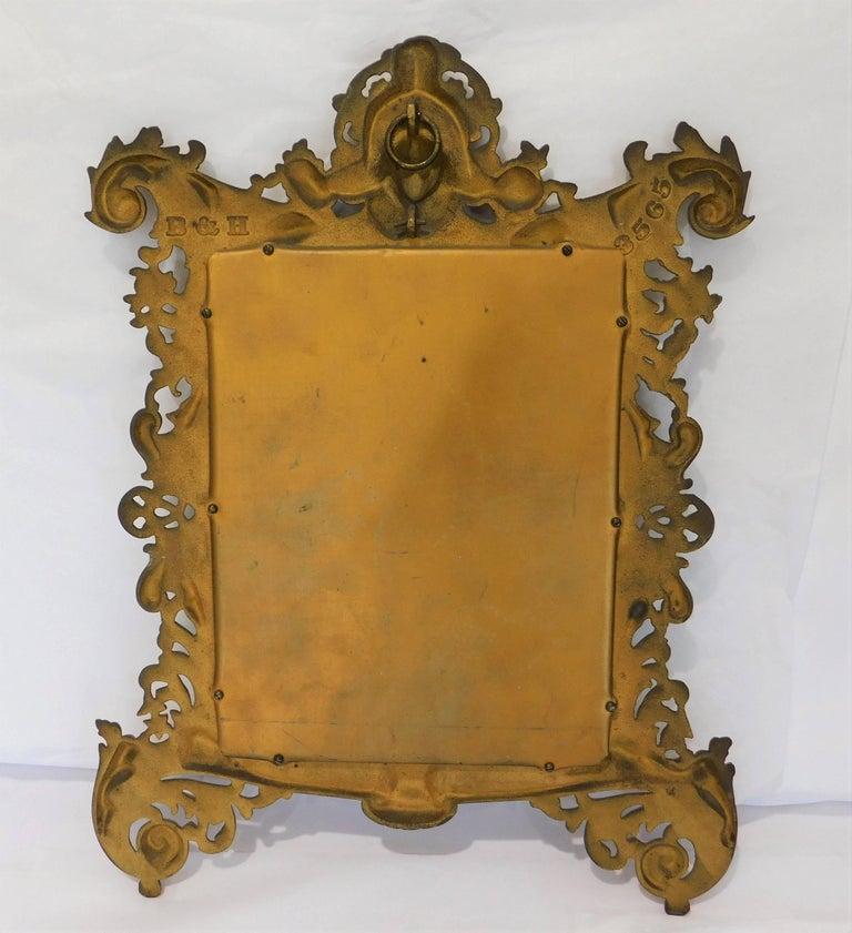 English Bradley Hubbard B&H 19th Century Gilt Bronze Antique Table Vanity Figural Mirror For Sale