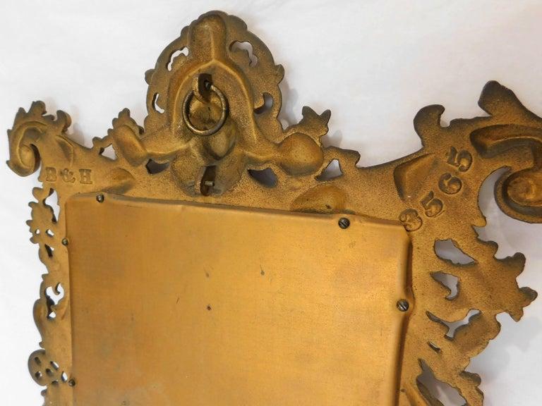 Bradley Hubbard B&H 19th Century Gilt Bronze Antique Table Vanity Figural Mirror In Good Condition For Sale In Hamilton, Ontario