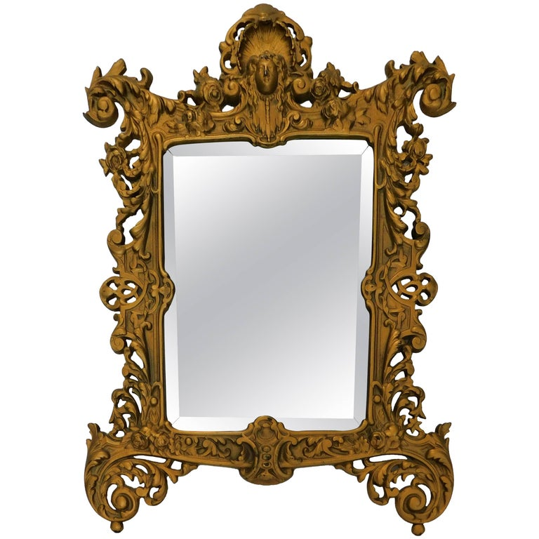 Bradley Hubbard B&H 19th Century Gilt Bronze Antique Table Vanity Figural Mirror For Sale