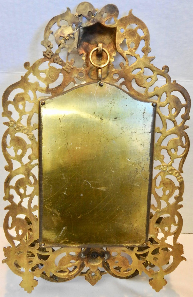 Bradley & Hubbard Co. Brass Beveled Mirror with Sconces, 20th Century For Sale 1