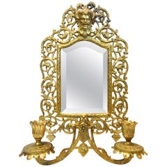 Bradley & Hubbard Co. Brass Beveled Mirror with Sconces, 20th Century