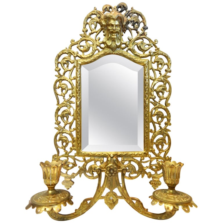 Bradley & Hubbard Co. Brass Beveled Mirror with Sconces, 20th Century For Sale