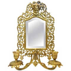 Bradley & Hubbard Co. Brass Beveled Mirror with Sconces