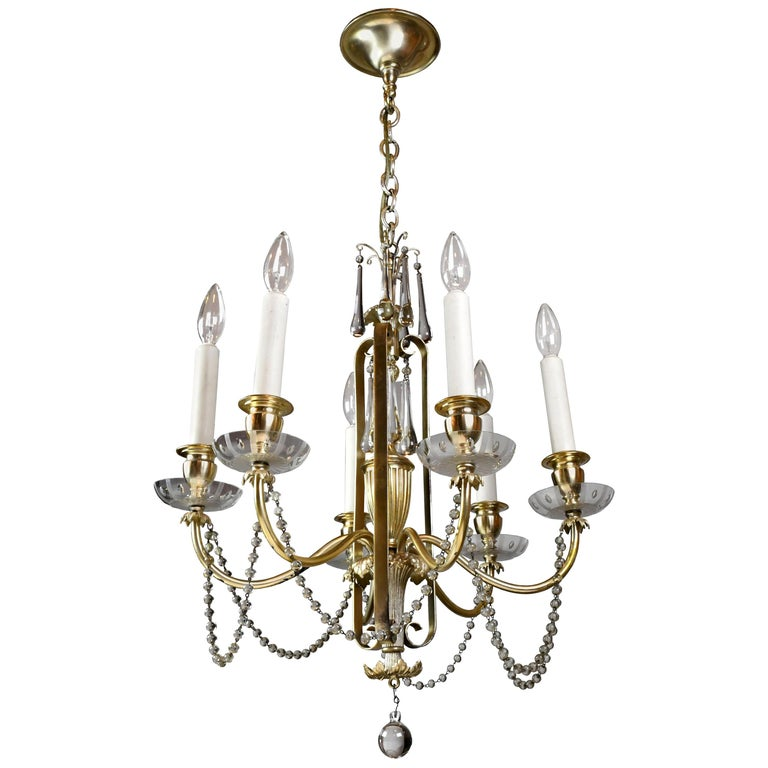 Bradley & Hubbard Six-Arm Silver Plated Chandelier For Sale