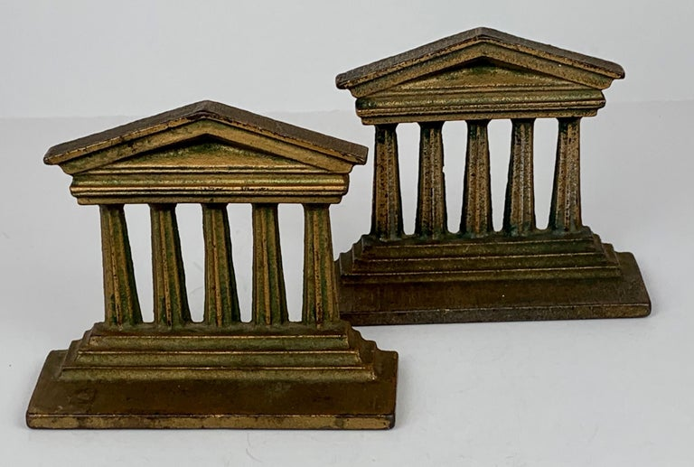 Patinated Pair of Temple of Isis Bookends by Bradley & Hubbard_USA, 19th c. For Sale