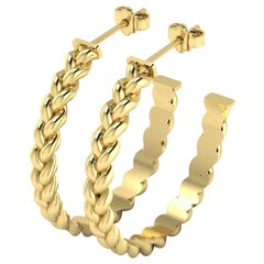 Large Braid Hoop Earrings by Romae Jewelry in 18 Karat Yellow Gold