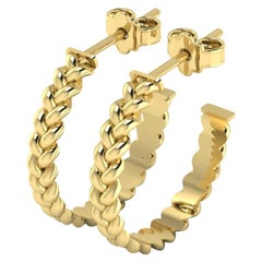Small Braid Hoop Earrings by Romae Jewelry in 22 Karat Yellow Gold