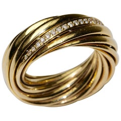 Braided 18K gold ring 'Helioro by Kim' WEMPE, set with 36 diamonds,
