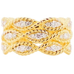 Braided Diamond Ring, 14 Karat Gold Twisted Wide Band, Gabriel Co LR51558Y45JJ