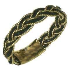 Braided Gold and Elephant Hair Ring