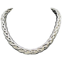 Braided Mesh Silver Necklace