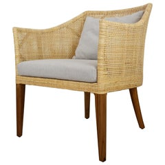 Braided Rattan and Teak Wooden Armchair