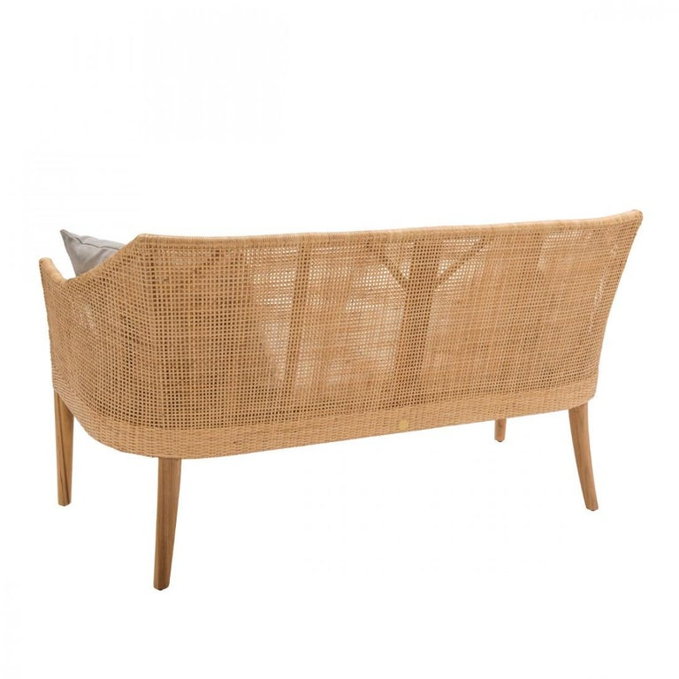 Scandinavian Modern Braided Rattan and Teak Wooden Sofa For Sale