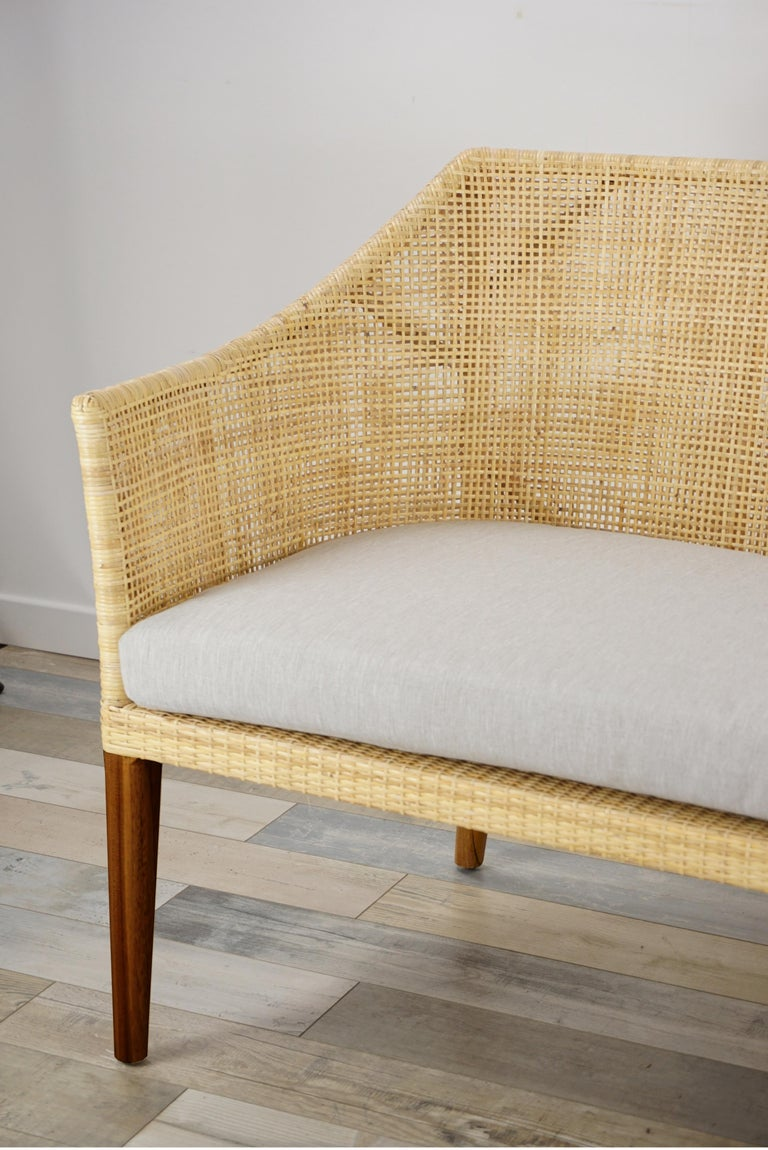 French Braided Rattan And Teak Wooden Sofa For Sale