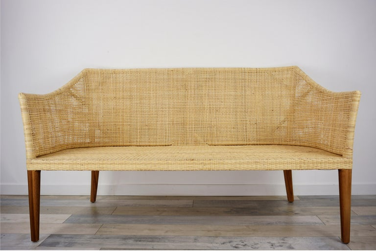 Braided Rattan And Teak Wooden Sofa In New Condition For Sale In TOURCOING, FR