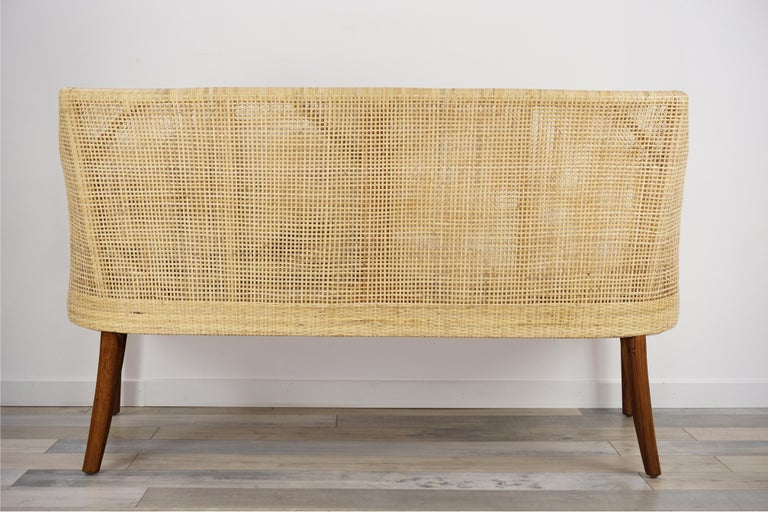 Contemporary Braided Rattan And Teak Wooden Sofa For Sale