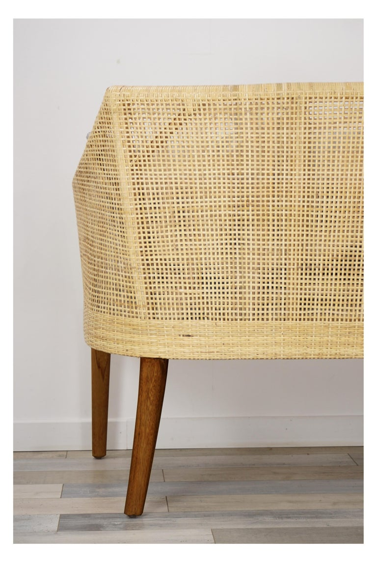 Braided Rattan And Teak Wooden Sofa For Sale 1