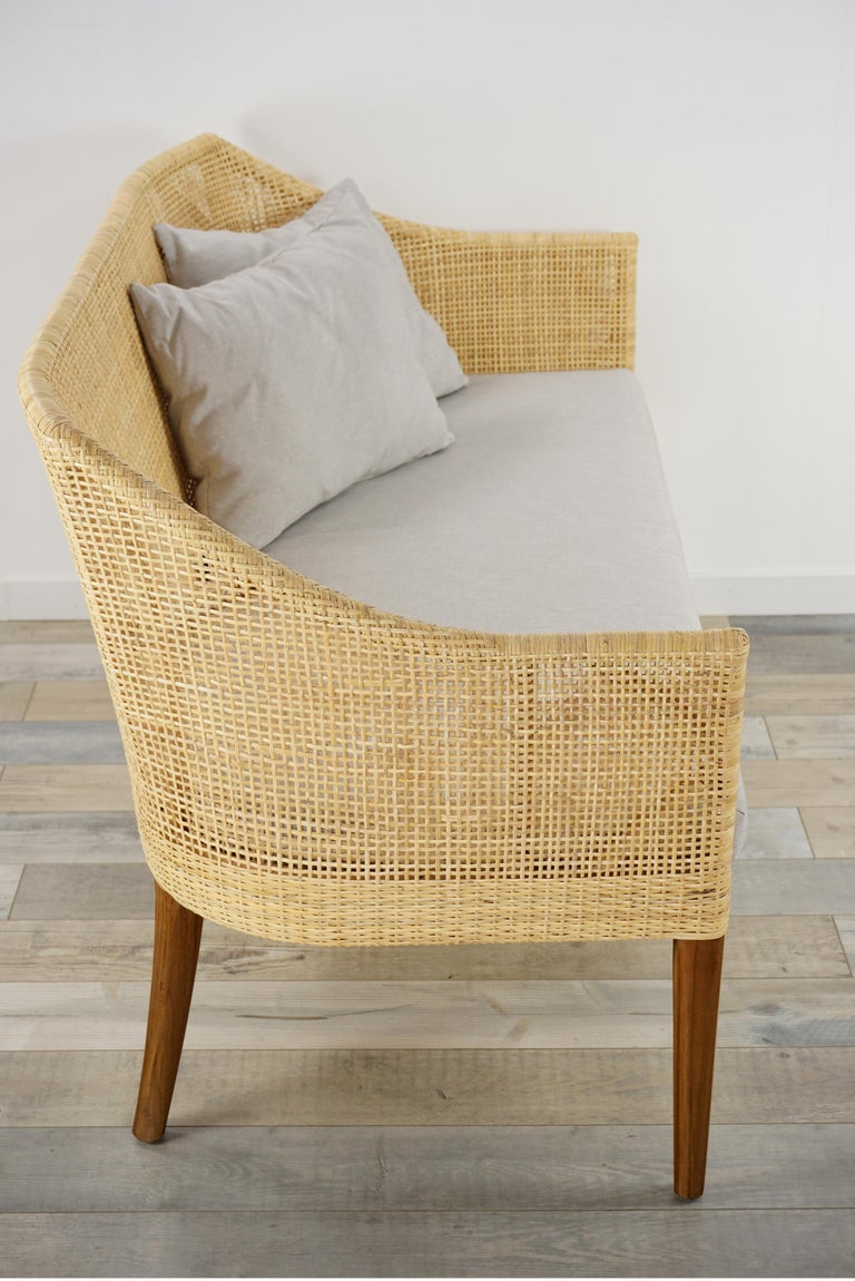 Braided Rattan And Teak Wooden Sofa For Sale 2
