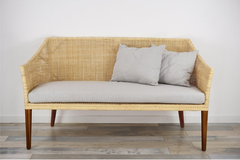 Braided Rattan And Teak Wooden Sofa For Sale 3