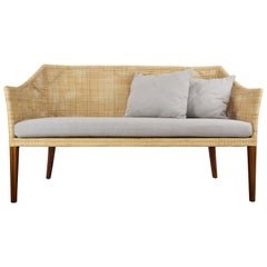 Braided Rattan And Teak Wooden Sofa