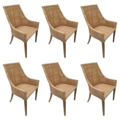 Braided Resin Rattan Effect and Teak Wooden Set of Six Outdoor Armchairs