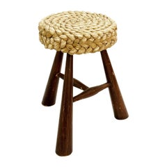 Braided Stool by Adrien Audoux & Frida Minet, France, 1950s