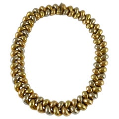 Braided Style 18 Karat Two-Tone Gold Necklace