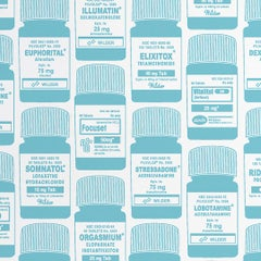 Brain Candy Screen Printed Wallpaper in Aqua 'Aqua Blue on Soft White'