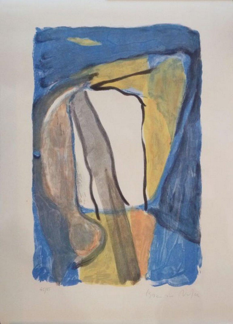 Bram Van Velde Abstract Print - Composition in Blue and Yellow