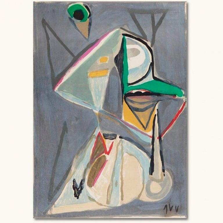 Bram Van Velde Abstract Print - Composition in Grey