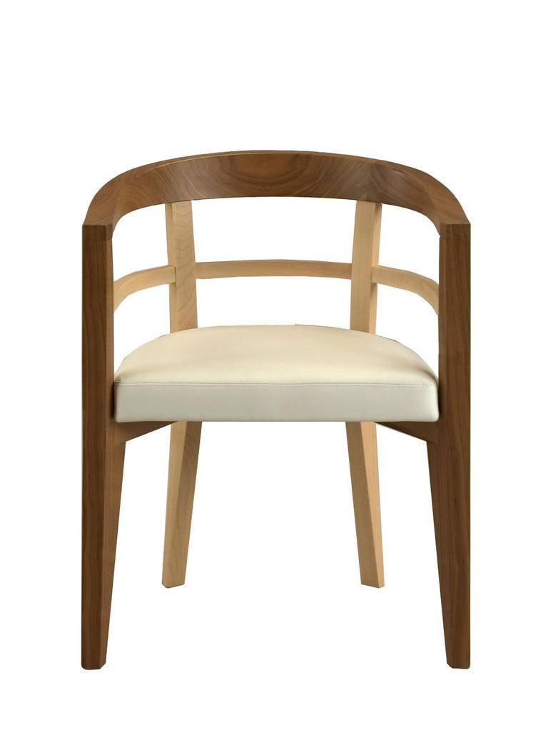 Italian Bramante, Contemporary Armchair Made of Maple and Walnut, Design Franco Poli For Sale