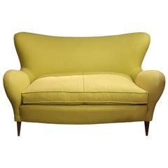 Brambilla, Green Wool and Wood Legs Midcentury Italian Sofa, 1960