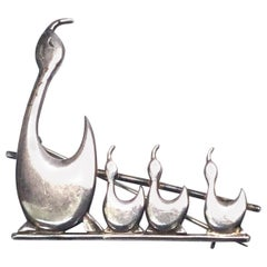 Brammer Sterling Silver Mother Duck and Ducklings Pin or Brooch Denmark