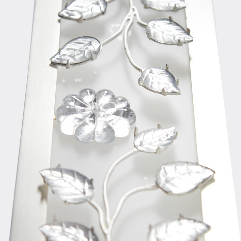 American Branch Vanity Light by David Duncan, Brushed Silver, Art Deco Style Wall Light For Sale