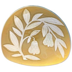 """""""Branches with Pears,"""" Rare, Etched Glass Bowl in Golden Sand Color by Gregory"""