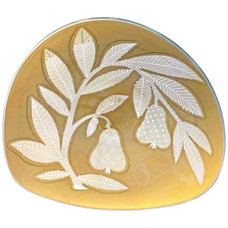 """""""Branches with Pears,"""" Rare, Etched Glass Bowl in Golden Sand Color by Gregory For Sale"""