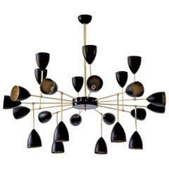 Courtney Branching Brass Chandelier Black w/Gold Inside Stilnovo Style 24 Lights