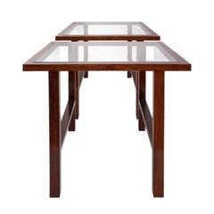 Branco & Preto Caviuna Side Table, Glass Top, Brazil, 1960s
