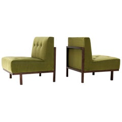 "Branco & Preto Pair of Chairs ""M1"", Jacaranda & Green Velvet, Brazil, 1950s"