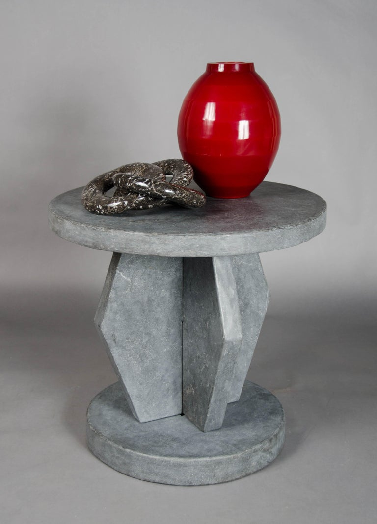 Brancusi Design Table - Black Stone by Robert Kuo, Hand Made, Limited Edition In New Condition For Sale In West Hollywood, CA