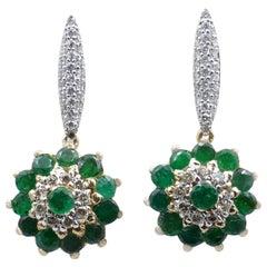 Brand New 18 Carat Yellow Gold Emerald and Diamond Drop Earrings