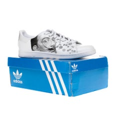 """Brand New Adidas Stan Smith All White sneakers customized """"Dali"""" by Patbo"""
