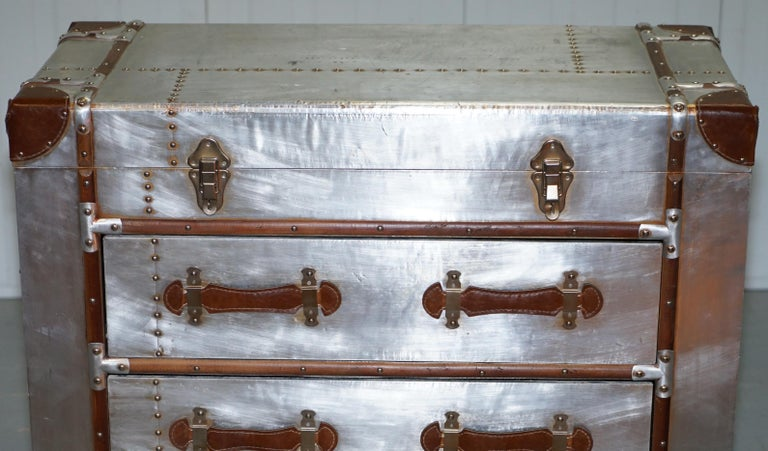 Brand New Aluminium And Brown Leather Aviator Chest Of
