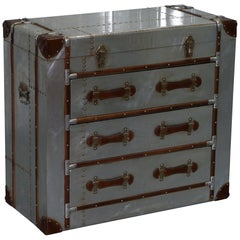 Brand New Aluminium and Brown Leather Aviator Chest of Drawers Seriously Cool